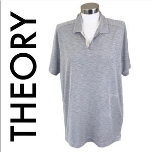 THEORY MEN'GRAY SOFT POLO SIZE LARGE